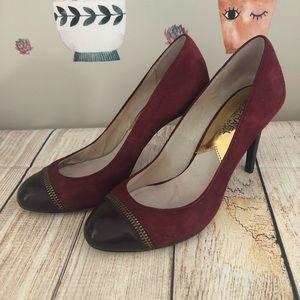 Michael Kors Dark Red Suede Heels/ Pumps w/ Zipper